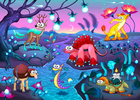 Group of funny animals in a fantasy landscape. Cartoon vector illustration.