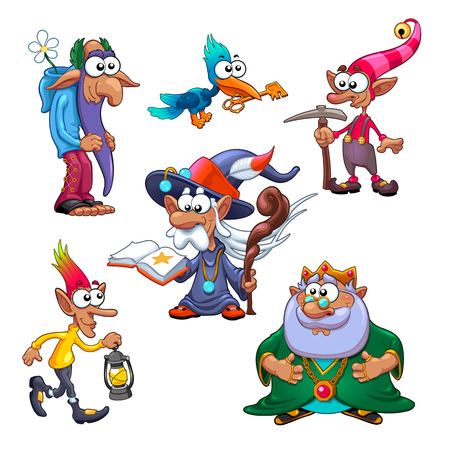 A group of funny gnomes with bird. Vector fantasy isolated characters.