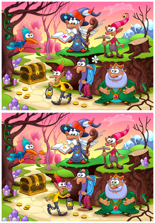 difference: Spot the differences. Two images with eight changes between them, vector and cartoon illustrations.