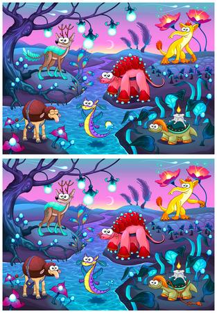 Trouve les différences. Deux images avec six changements entre eux, vecteur et illustrations de bande dessinée.