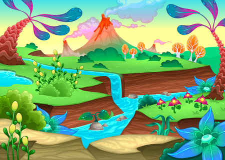 panoramic nature: Funny prehistoric landscape with river and volcanoes. Vector cartoon illustration