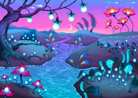 Paisaje nocturno de fantasía. Ilustración vectorial de dibujos animados.