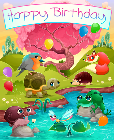 redbreast: Happy Birthday card with cute animals in the countryside. Vector cartoon illustration Illustration