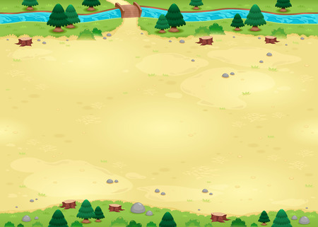 Nature background for games. The sides repeat seamlessly for an endless animation, vector illustration