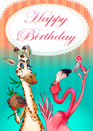 Happy Birthday card with funny animals. Vector cartoon illustration Vectores