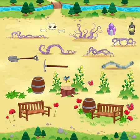 endlessly: Natural tems for games and app. Objects on yellow background are isolated. The scene can repeat endlessly on the sides.