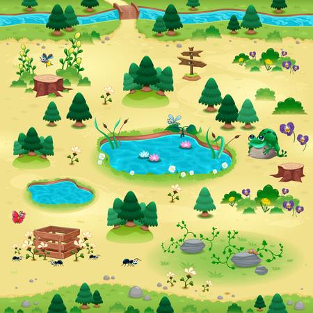 endlos: Natürliche teme für Spiele und App. Objekte auf gelbem Hintergrund isoliert. Die Szene kann auf den Seiten endlos wiederholen. Illustration