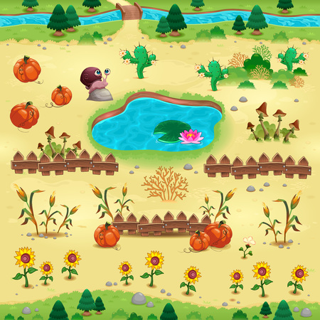 Natural tems for games and app. Objects on yellow background are isolated. The scene can repeat endlessly on the sides.