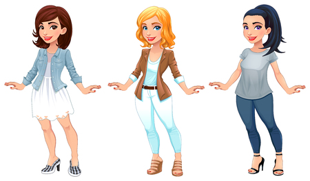 Three female cartoon characters. Vector illustration, isolated items
