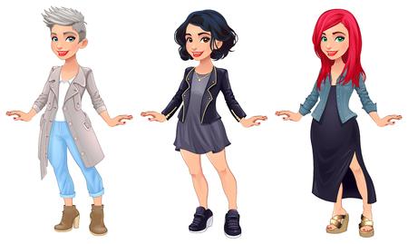 Trois personnages de dessins animés féminins. Vector illustration, les éléments isolés Banque d'images - 73267657