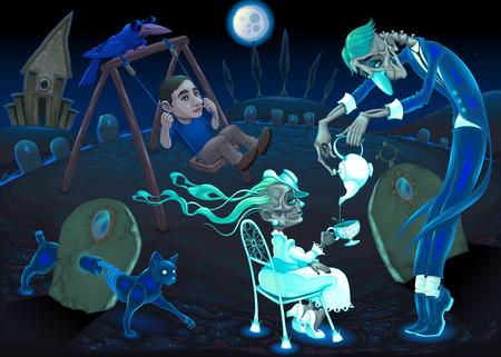 frightful: Breakfast at midnight. Vector cartoon horror illustration Illustration
