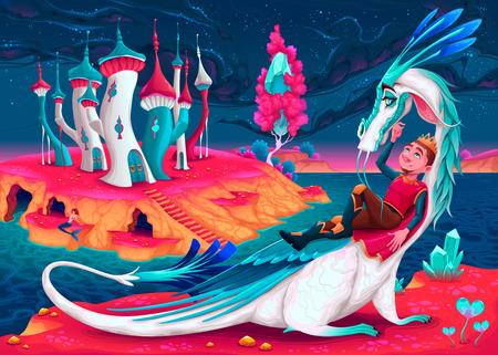 Một vị vua trẻ với con rồng của mình trong một thế giới tưởng tượng. Vector minh hoạ hoạt hình. Kho ảnh - 74292185