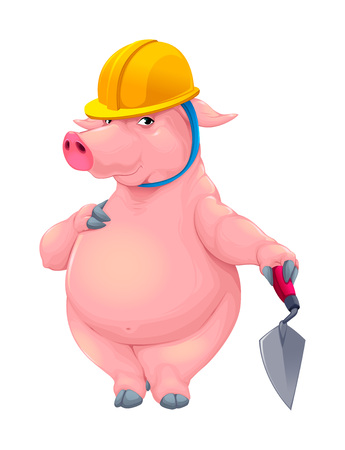 Bricklayer pig with tool. Funny cartoon vector character.