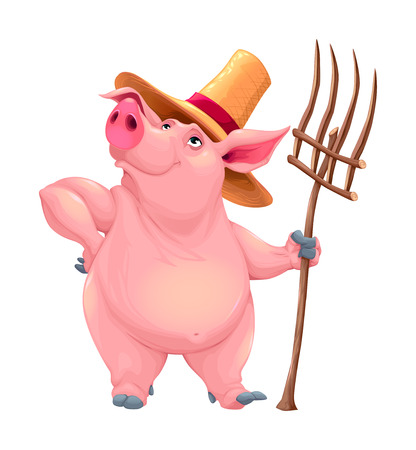 Farmer pig with tool. Funny cartoon vector character.