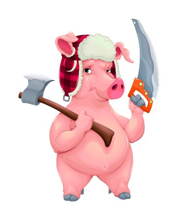 Woodworker pig with tools. Funny cartoon vector character. Illustration
