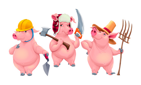 Three little pigs. Cartoon vector isolated fairytale characters.