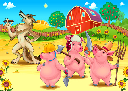 Three little pigs and bad wolf. Cartoon vector fairytale illustration. Illustration