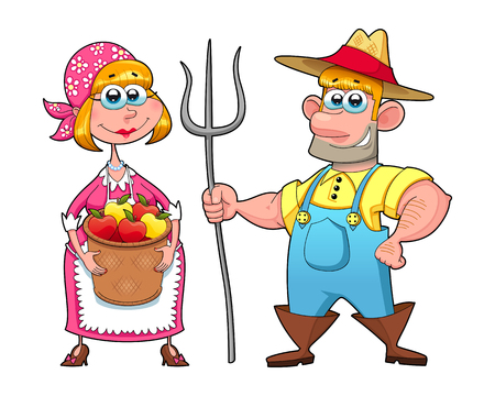 Funny couple of farmers. Vector cartoon isolated characters.