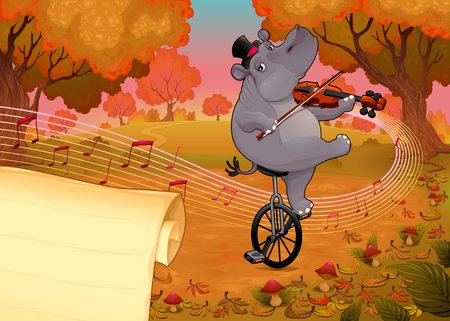 Violinst hippo and paper to give the best wishes. Vector cartoon illustration
