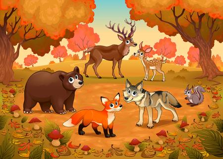Animali divertenti nel legno. Illustrazione cartoon vettoriale Archivio Fotografico - 76945771