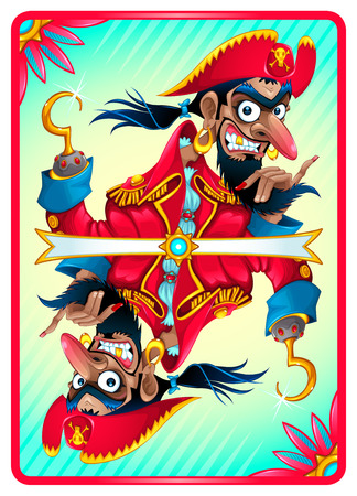 Pirate card for gaming. Vector cartoon illustration Illustration