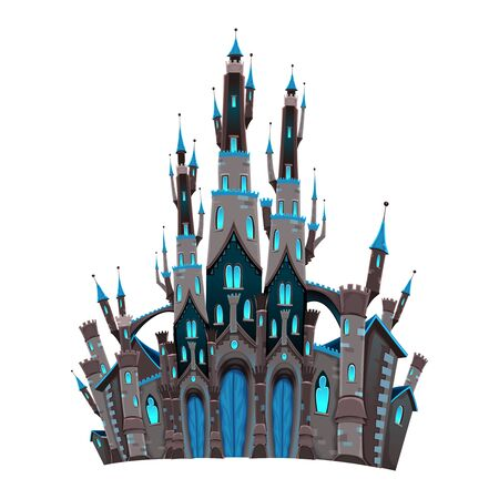 Medieval fantasy castle. Cartoon and vector isolated object.