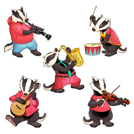 Group of funny badgers are playing music. Vector cartoon isolated characters