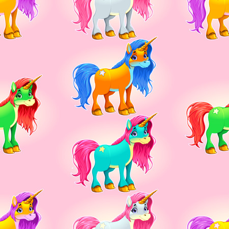 Set of cute unicorns. The sides repeat seamlessly for a possible packaging or graphic
