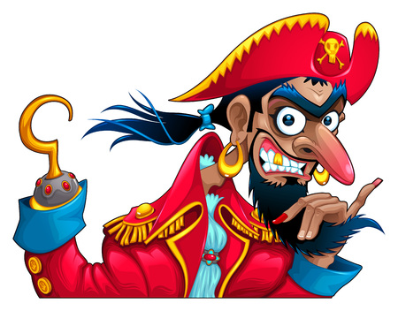 commander: Funny pirate character. Vector cartoon isolated mascot. Illustration