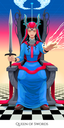 Queen of swords, tarot card. Vector illustration