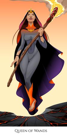 Koningin van wands, tarotkaart. Vector illustratie
