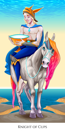 Knight of cups, tarot card. Vector illustration Illustration
