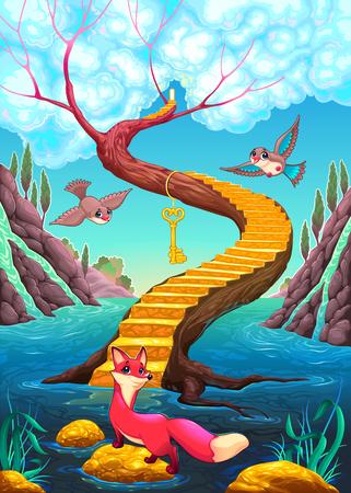 The golden stair vector cartoon illustration