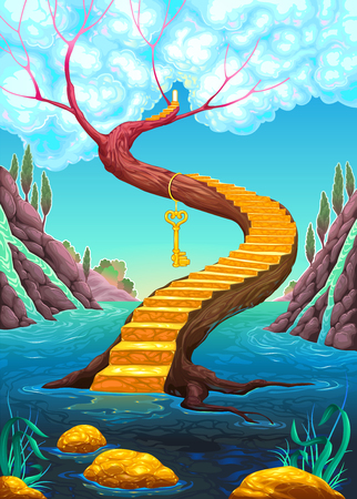 The golden stair with key. Vector cartoon illustration