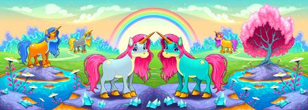 Happy unicorns in a landscape of dreams. Vector cartoon illustration