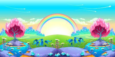 Landscape of dreams with rainbow. Vector cartoon illustration Vettoriali