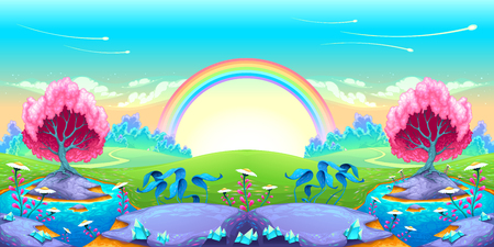 Landscape of dreams with rainbow. Vector cartoon illustration Illustration