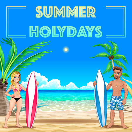 Summer poster for holidays with surfers and sea. Vector illustration