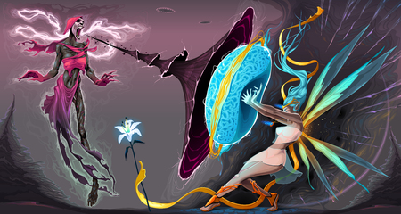 Fear and courage, battle in the astral realms. Vector fantasy illustration