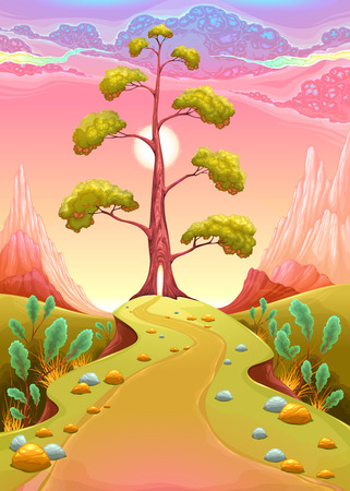 Astral landscape in the sunset. Vector cartoon illustration