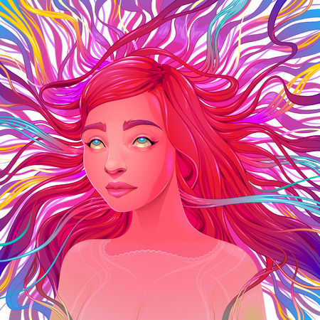 Aesthetic Ecstatic. Vector portrait of a beautiful woman.  Illustration