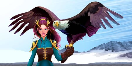 Eagle trainer elf on the mountains. Vector fantasy illustration.
