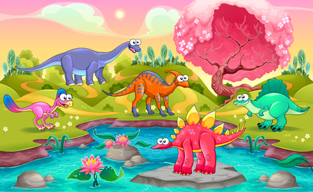 Group of funny dinosaurs in a natural landscape. Cartoon vector illustration
