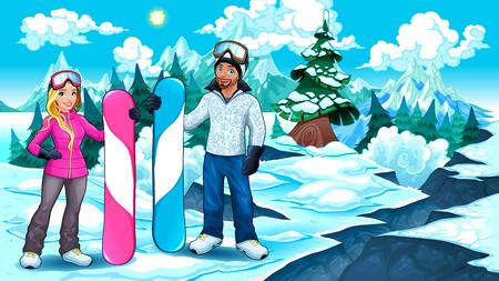 Snowboarders niño y niña en la montaña. Ilustración del vector Foto de archivo - 85244900