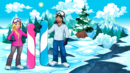 Snowboarders boy and girl on the mountain. Vector illustration