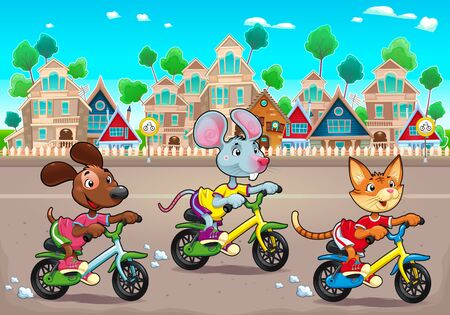 Funny pets are riding bikes in the town. Vector cartoon illustration, the background can repeats seamlessly.