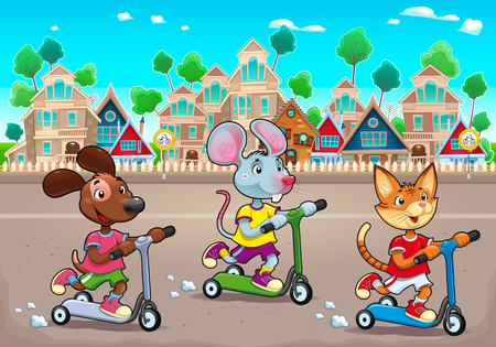 Funny pets are riding scootertoys in the town. Vector cartoon illustration, the background can repeats seamlessly. Illustration