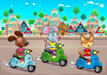 Funny pets are riding scooters in the town. Vector cartoon illustration, the background can repeats seamlessly.