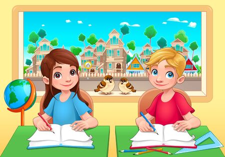 Young students boy and girl in the classroom. Cartoon vector illustration Illustration