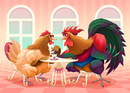 Hen and rooster in a cafè. Funny cartoon vector illustration